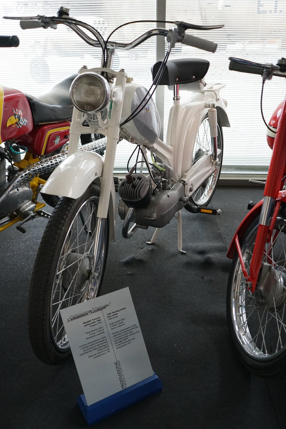 '64 Germano – 48cc, 2-stroke, three speeds. MV Agusta sold a total of more than 1,700 of these mopeds. The 'Germano' was made in two versions, one seen here with a pressed-steel frame and another with a tube frame. MV brought the motors in from DKW.