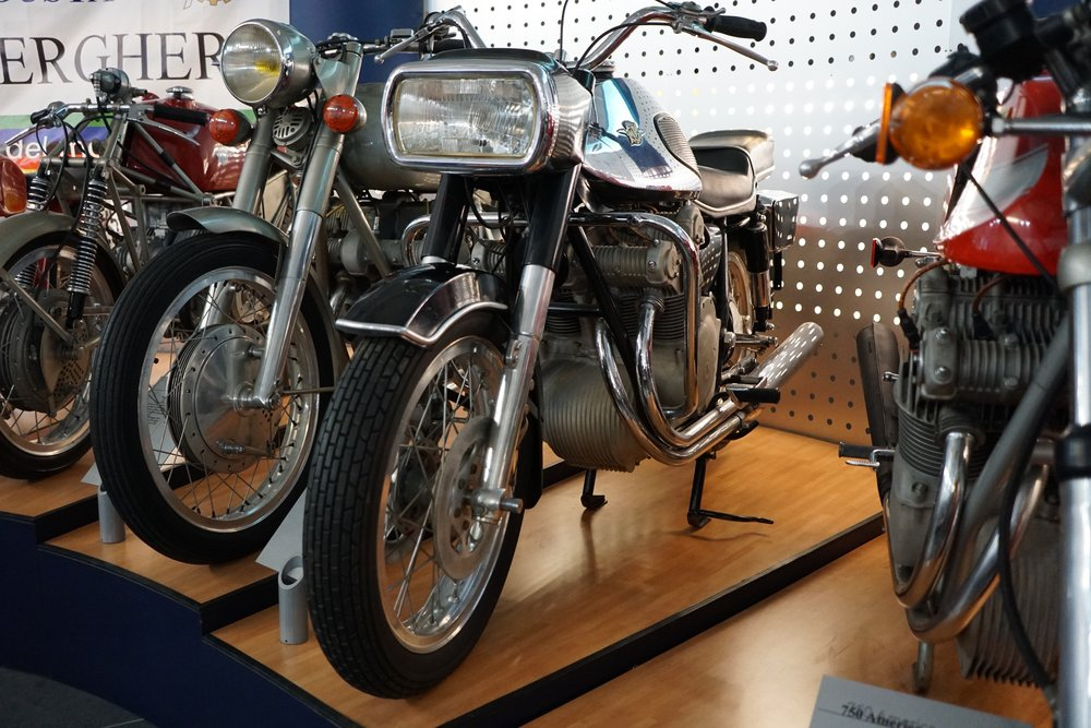 '68 600 4C6 – This 600cc road bike was made with a shaft drive in order to ensure that it would not be raced by customers! It was not particularly successful, with only 127 machines known to have been made between 1968-'71.