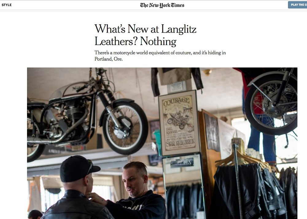 Stylin' in the Times - I wrote about Portland's terrific Langlitz Leathers shop for the New York Times' Style section.