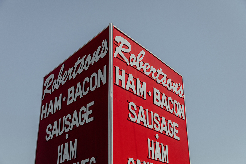 Robertson's Hams store sign in Marietta, Oklahoma