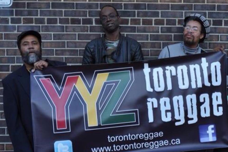 Toronto Reggae Banner  Peter Rankin Shinehead + Brigadier Jerry holding up the Toronto Reggae banner!