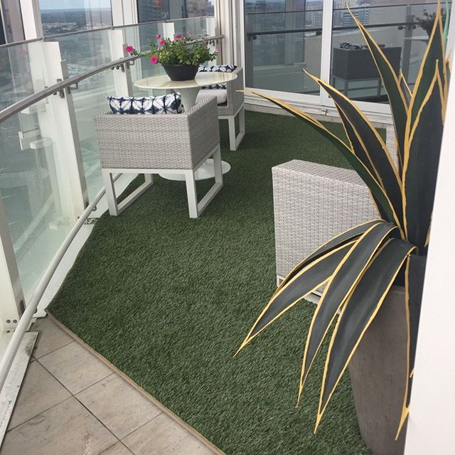 No backyard? No problem! We used a sunbrella binding on this piece of turf to make a perfect patio layout.