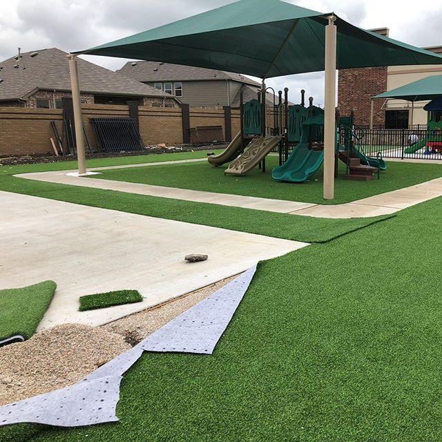 Playground in progress! #artificialturf #playgroundgrass