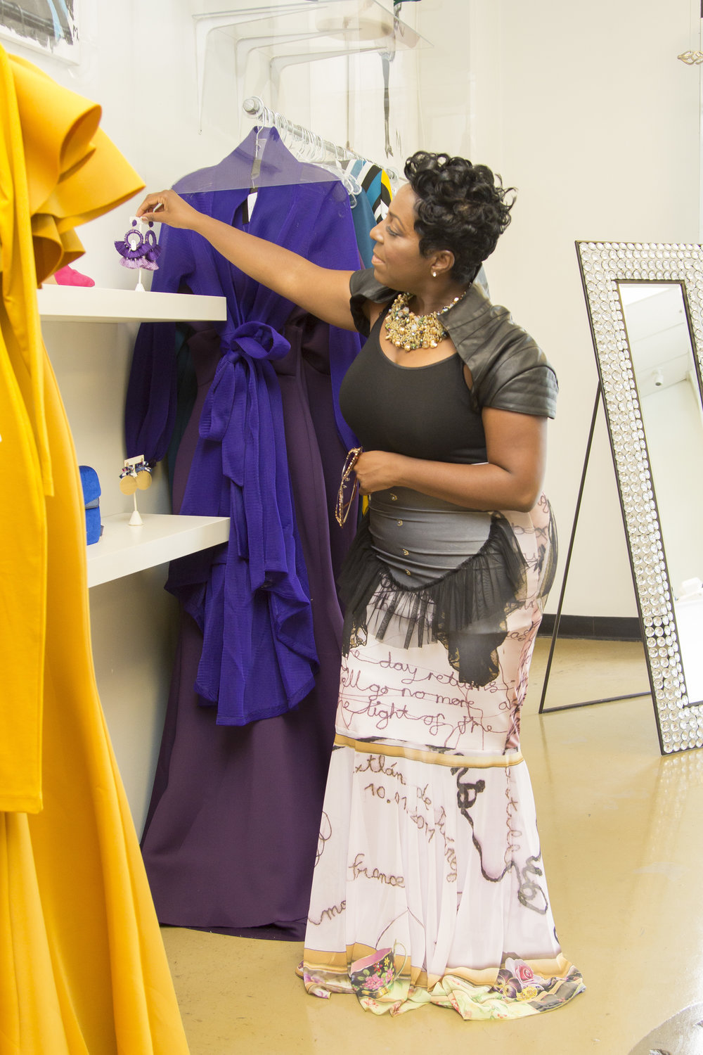 Kim Harden 44 - Great pic - Pulling Aceessories w_ Mustard Dress and Purple Earrings.JPG