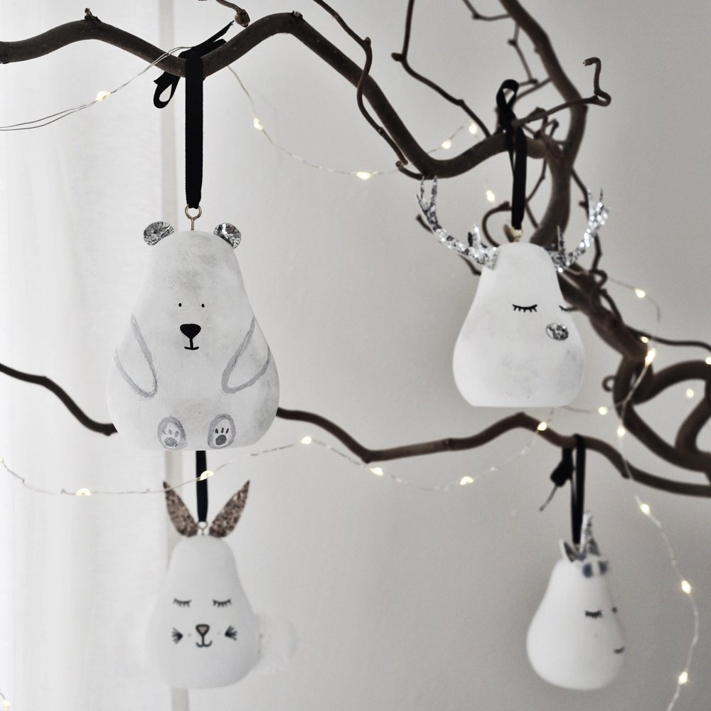 Christmas Pear Bauble    - £20  Ahh, the coveted wooden pear! Naomi will also hand personalise your bauble with a name on the back. These guys are cute enough to leave out all year round in your nursery.   - Styled By Naomi