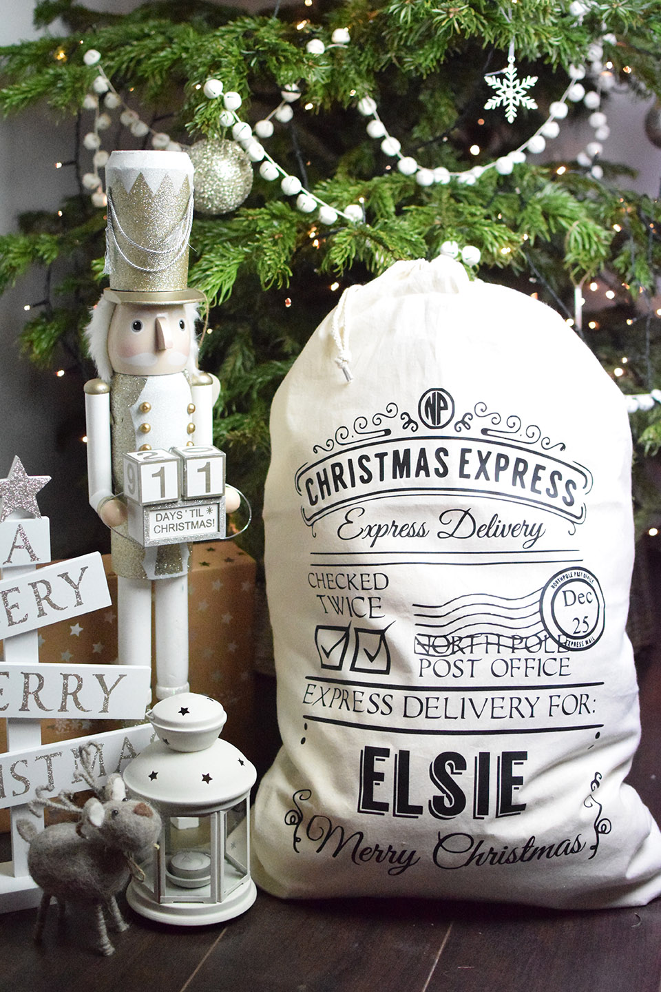 Personalised Santa Sack   : £18  A personalised Santa Sack can be used year after year. Make one of these part of your child's favourite Christmas memories. Available in natural or black cotton. Upgrade also available to add the name in gold.   - Lone Owl Studio