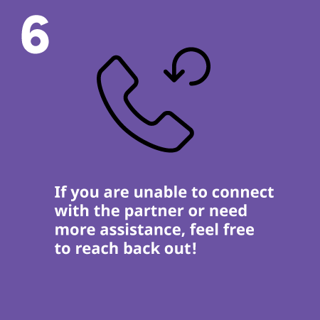If you are unable to connect with the partner or need more assistance, feel free to reach back out!