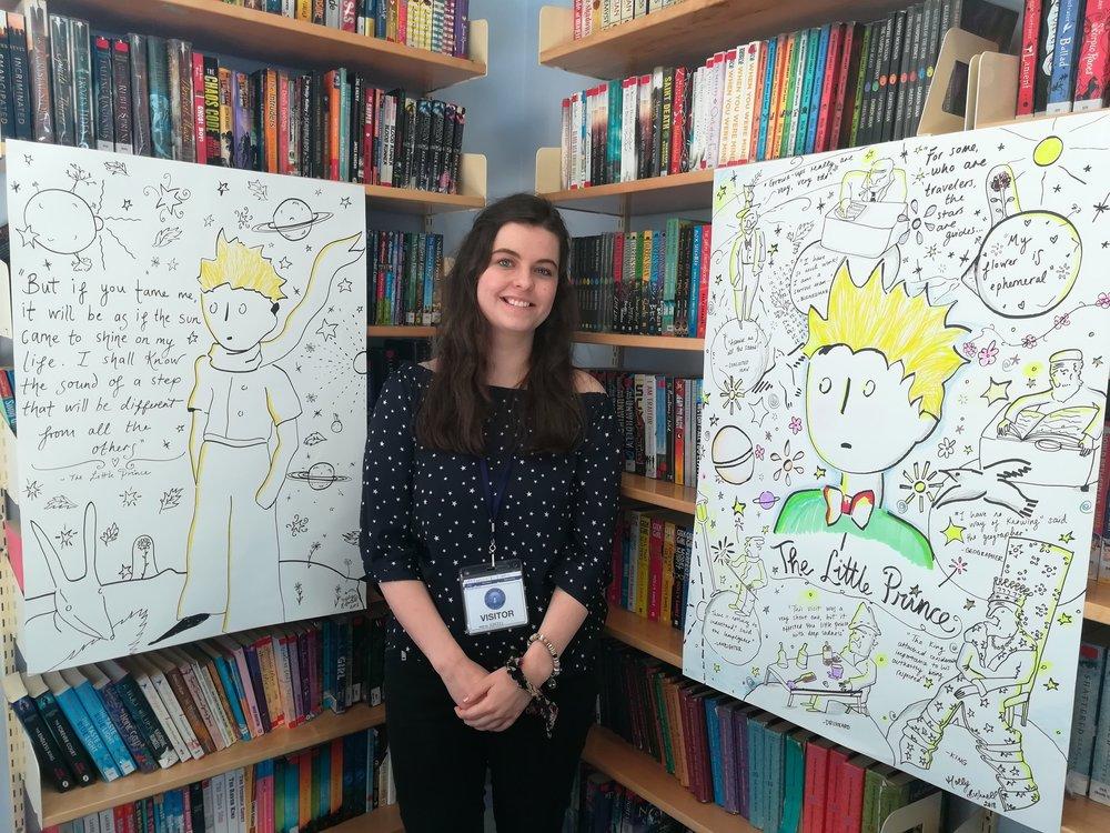 Holly Giving a School Illustrative Workshop