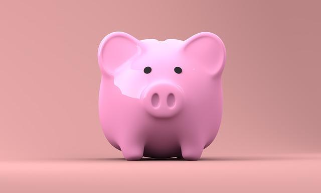 Pink piggy bank facing forward.