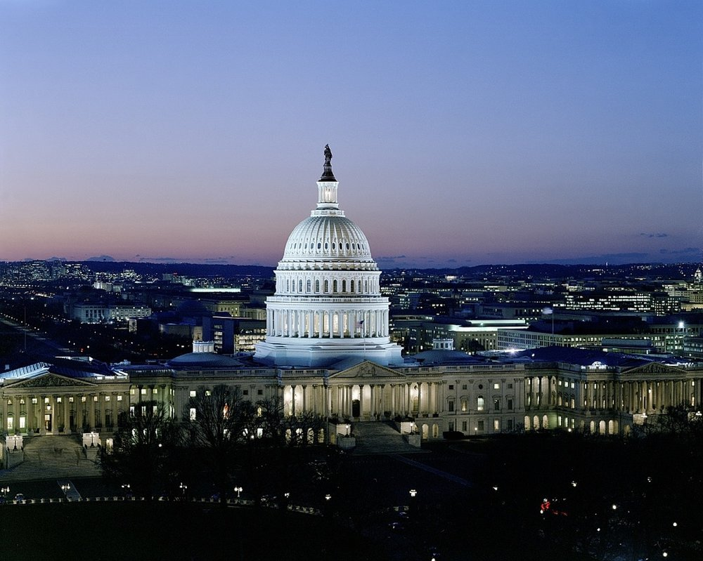 Washington DC United States capitol building at night.