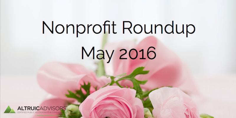 Nonprofit Roundup May 2016