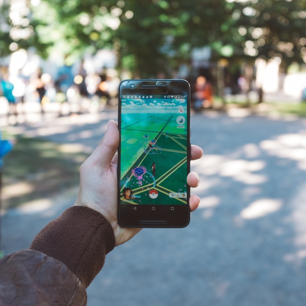 Smartphone displaying active game of Pokemon Go.