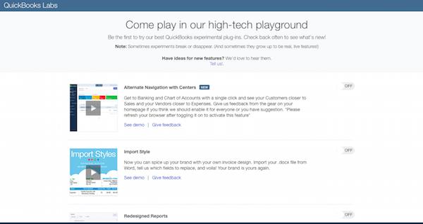 QuickBooks Labs screenshot.