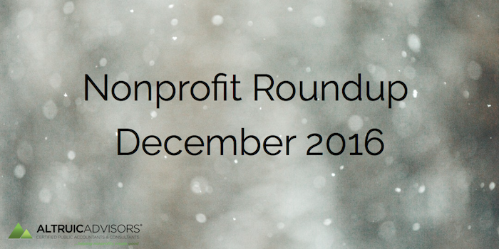 Nonprofit Roundup December 2016