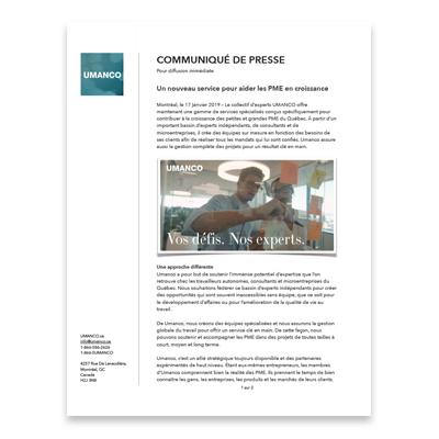 Obtenir ce fichier    Communiqué de presse en format PDF  Lancement officiel d'Umanco le 2017-01-17.