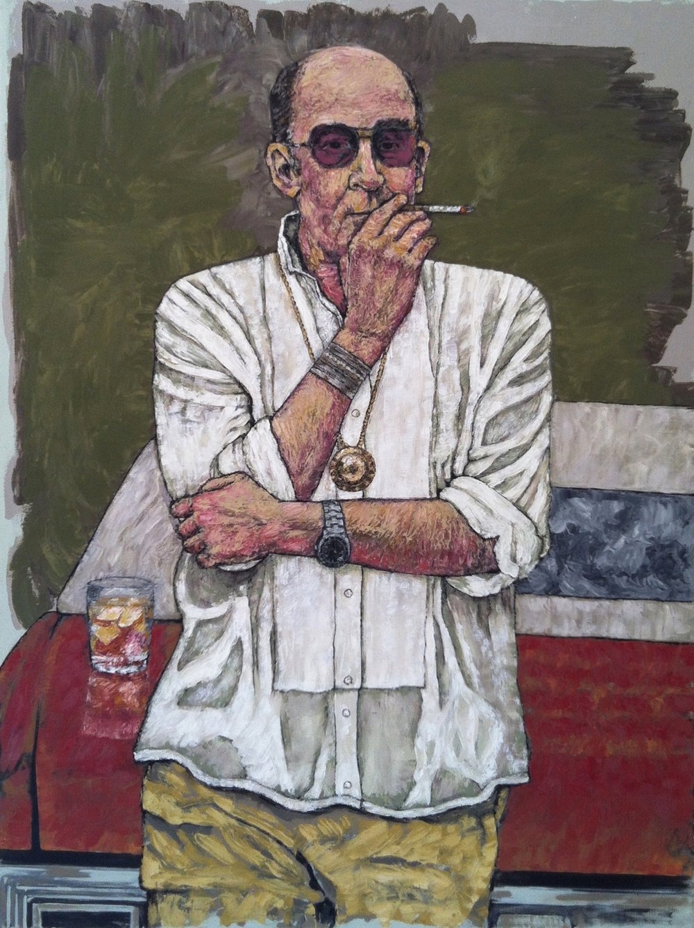 "hunter s. thompson 40x30"" oil on canvas"