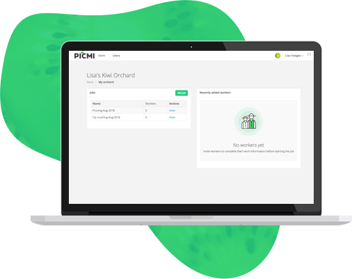 PICMI Grower admin dashboard
