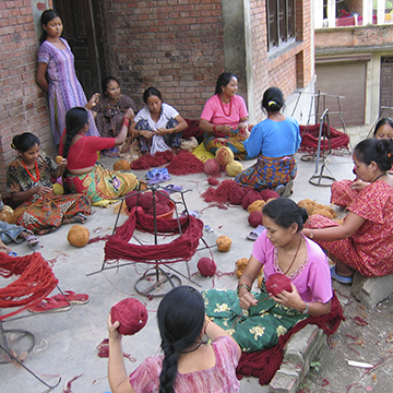 Hand spinning Tibetan wool in Kathmandu