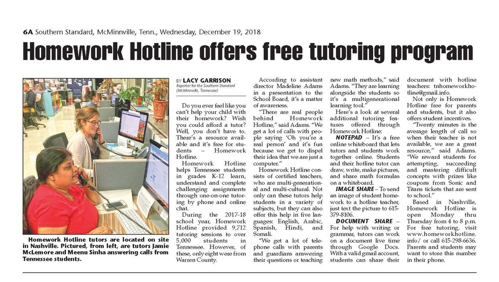 free homework hotline