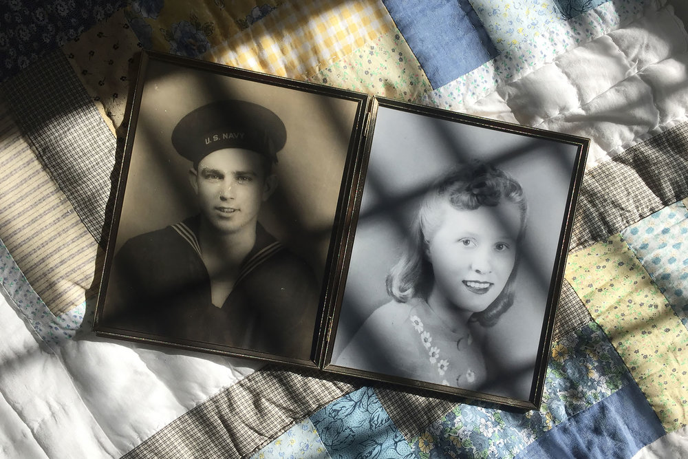Portraits of my mam-maw & pap-paw, William Jesse Wallace, and Helen Conley Norton Wallace, circa 1944-1945. My pap-paw was in the US Navy and served on the USS Wisconsin (BB-64) during WWII in a 16-inch gun crew, mam-maw helped sew tents for GIs.