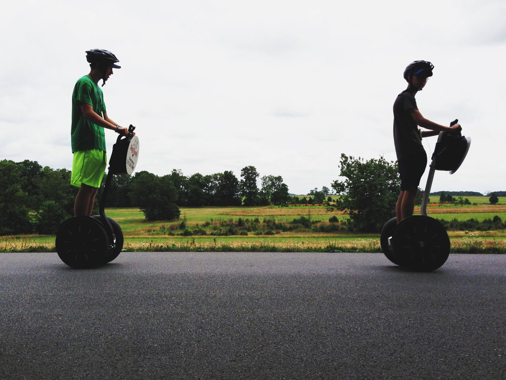 21st century modes of transport interlopes into the 19th via roaming Segways at Gettysburg National Military Park.