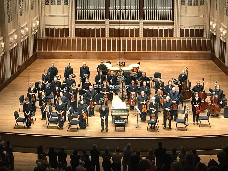 "Picture taken in Severance Hall on August 24th, 2018. The program consisted of Handel's "" Overture from An Occasional Oratorio"" , Haydn's  Piano Concerto in D Major , and Mozart's  Symphony No. 25 in G minor.  Jonathan Cohen conducted and Kristian Bezuidenhout was the soloist."