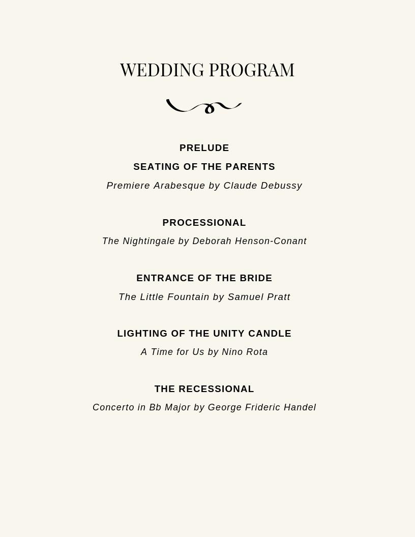 Elegant Wedding Program