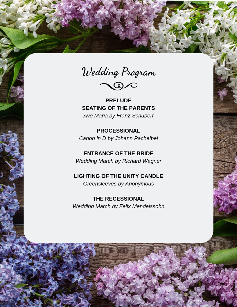 Traditional Sample Wedding Program