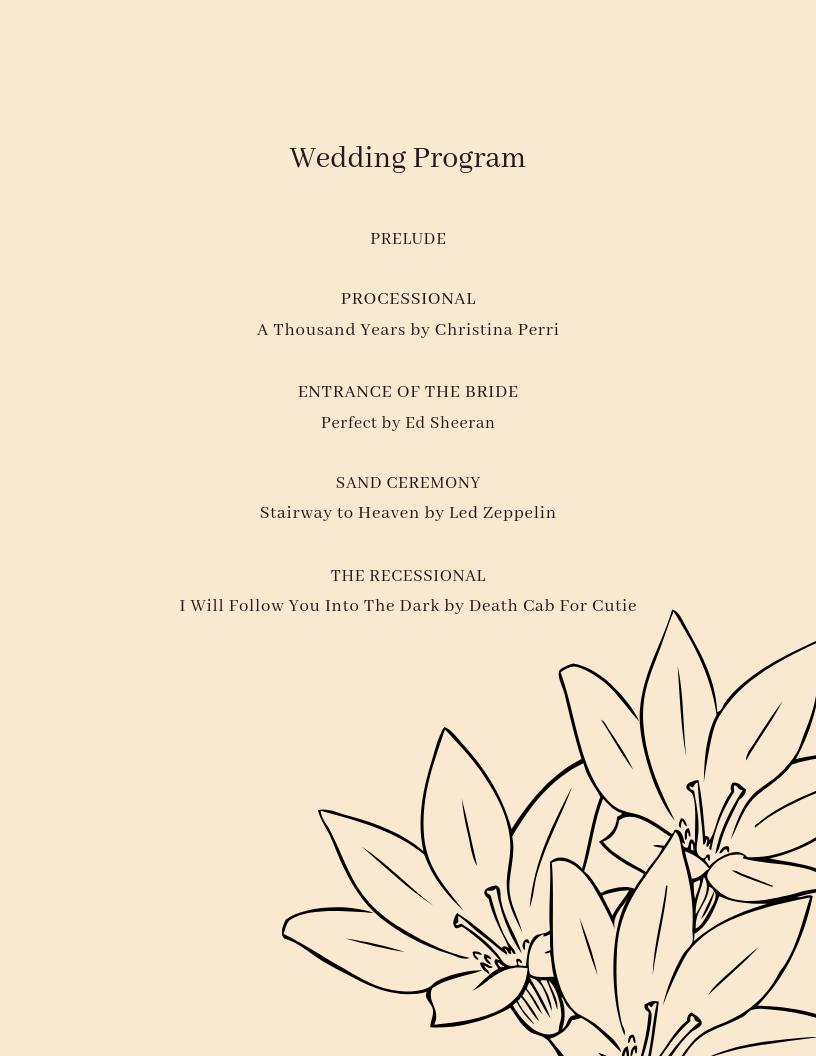 New Classics Sample Wedding Program