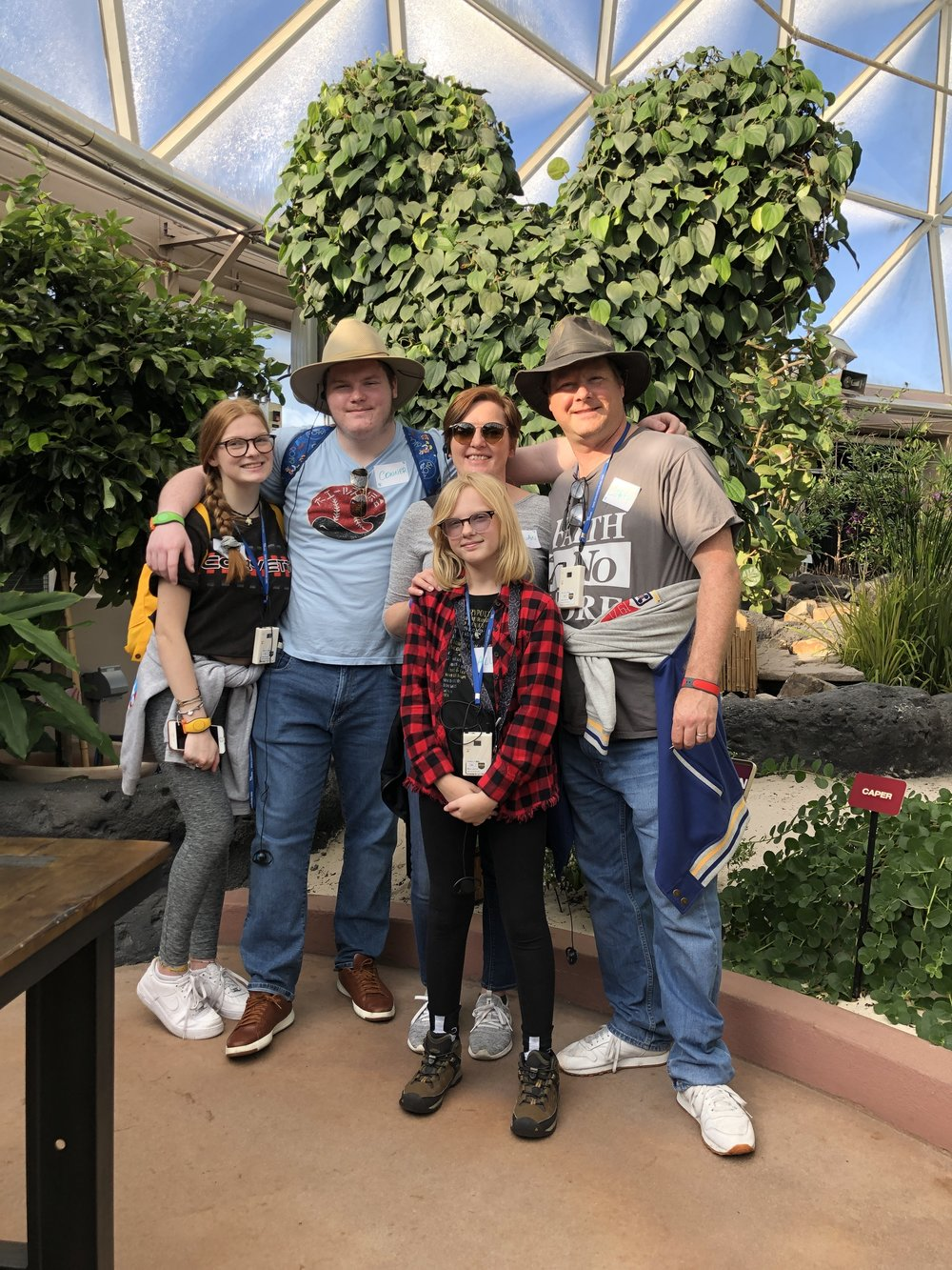 Family photo at the Behind the Seeds tour in the Land at Epcot. One of our favorite places.