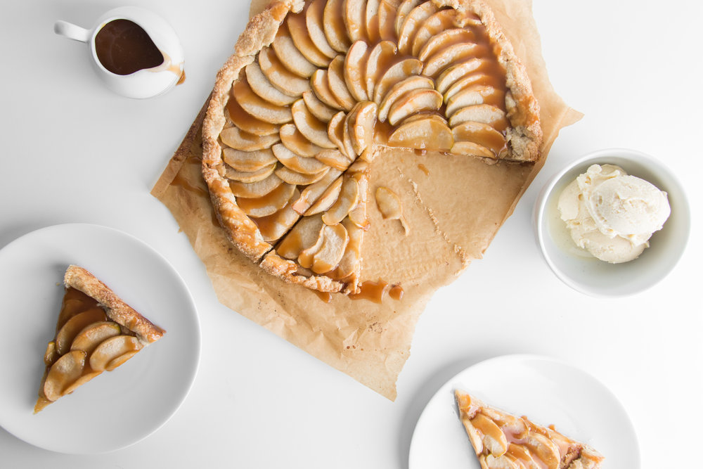 Apple Galette with Salted Caramel Sauce