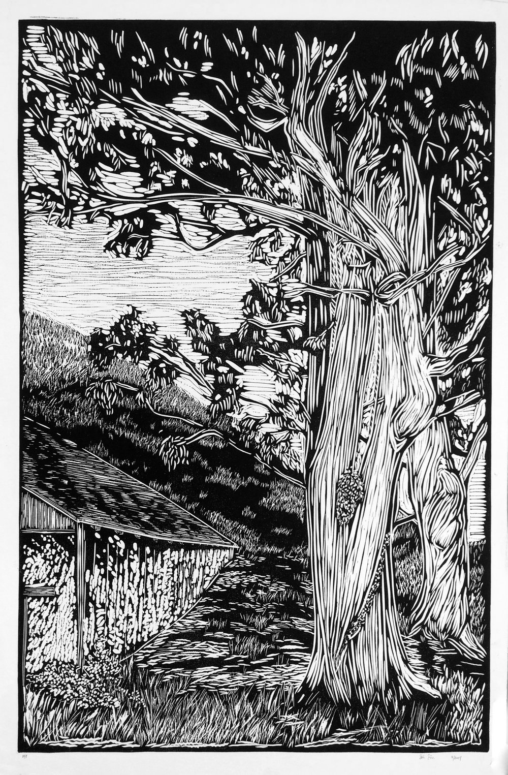 QUESERA CREEK   ARTIST: Sirima Sataman MEDIUM: Linocut – Ink on 100% cotton paper DIMENSIONS: 36 in x 48 in | 91,44 cm x 121,92 cm EDITION: 24 PRICE: $750 unframed | $1800 framed