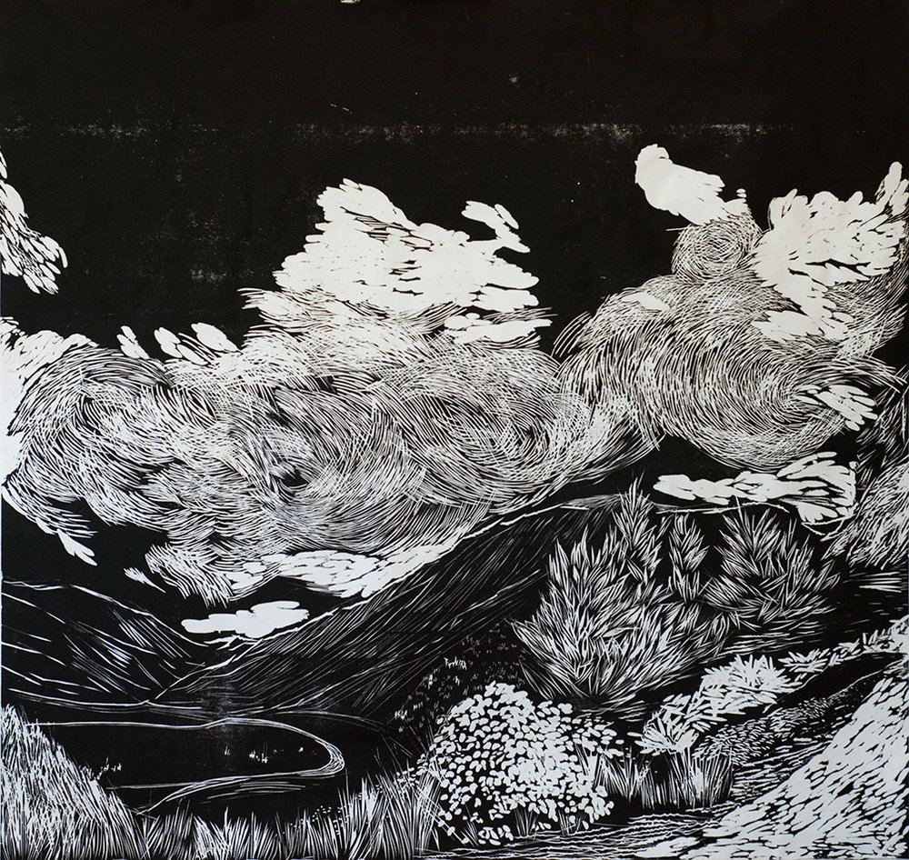 MCCLURE PASS (RIGHT)   ARTIST: Sirima Sataman MEDIUM: Woodcut – Ink on Japanese paper DIMENSIONS: 46 in x 48 in | 116,84 cm x 121,92 cm EDITION: 6 PRICE: $2500 unframed (only 1 left) | $5500 framed (upon request)