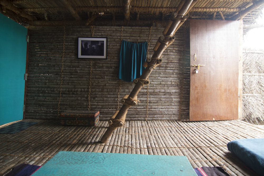 inside the wooden duplex at the Vaayu Guest house in Goa