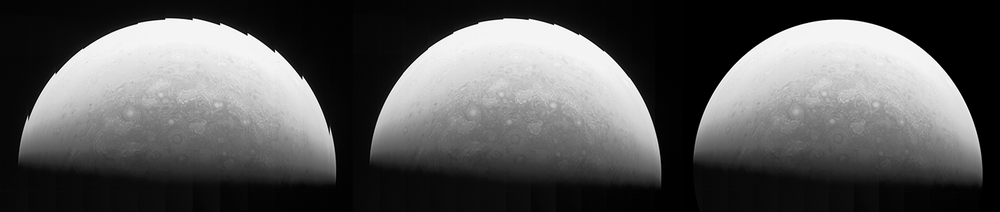On the left, is the original red-filtered Jupiter channel. In the middle, each framelet has been transformed so that the surface features in the center of each frame line up. On the right, each framelet has also been selectively scaled, aligning those surface features on the edge of the planet. Image Credit : & Matt Brealey