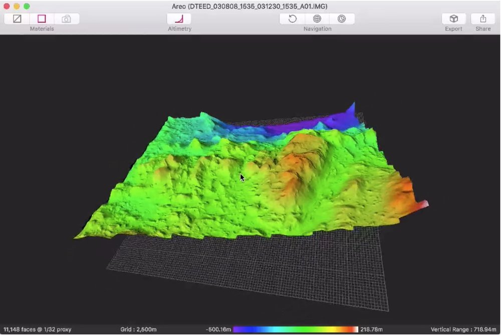 Areo   Designed as a way to quickly view   HiRISE   imagery in a accessible way,  Areo  is a desktop app for OSX that allows you to generate full 3D models from downloaded DTM ( Digital Terrain Model ) files in seconds. You can add textures, alter level of detail and finally export the results for use in other 3D applications, or directly for 3D printing.