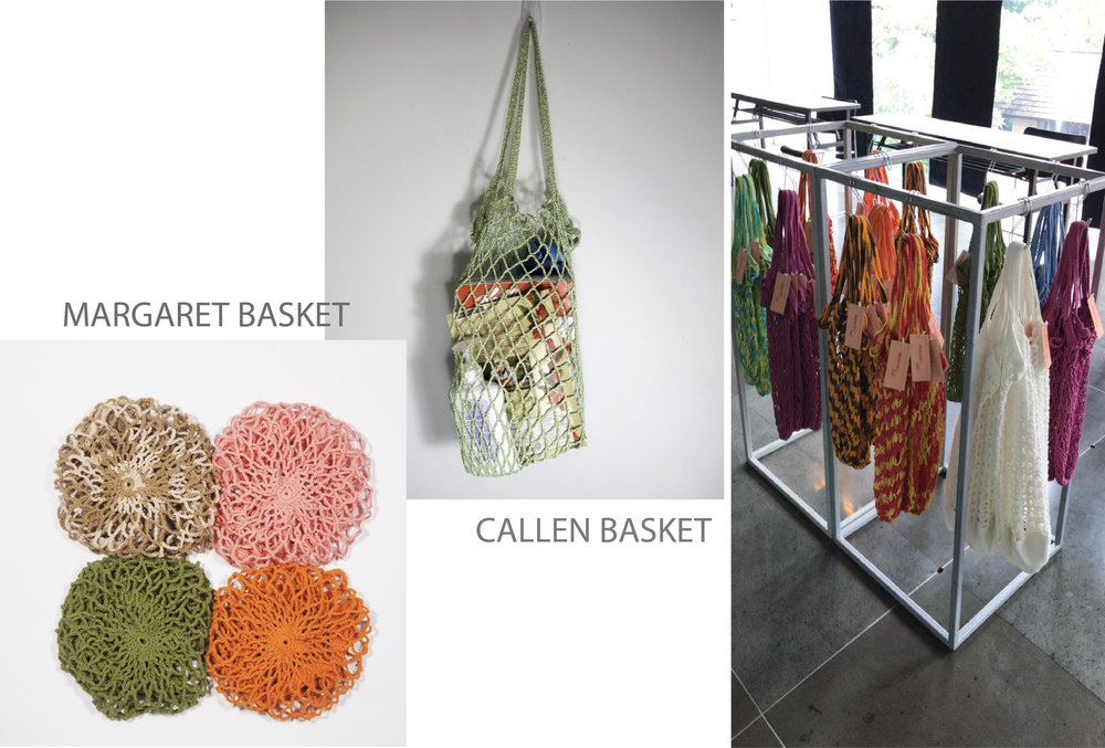 Margaret and Callen Baskets. - One of our new products, these are hand-crocheted baskets to replace single used plastic bags at the cashier. Adapted from French net market bags, these baskets are practical and stylish at the same time.Margaret is made from 100% cotton yarn and Callen is made from 100% polyester yarn. Shop for them here or at our Instagram shop here, or our stockist here.