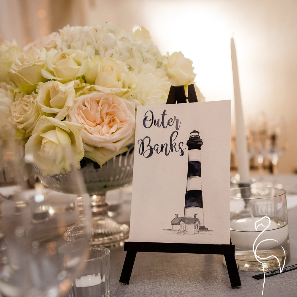 Brazzlebird - Wedding Table Sign Outer Banks North Carolina Bodie Lighthouse.jpg