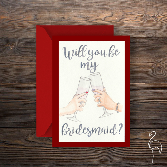 Brazzlebird - Watercolor Will You Be My Bridesmaid Invitation Red.jpg