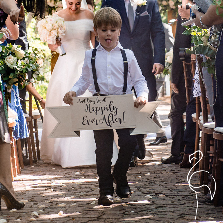 Brazzlebird - Watercolor Wedding Ringbearer Sign And They Lived Happily Ever After.jpg
