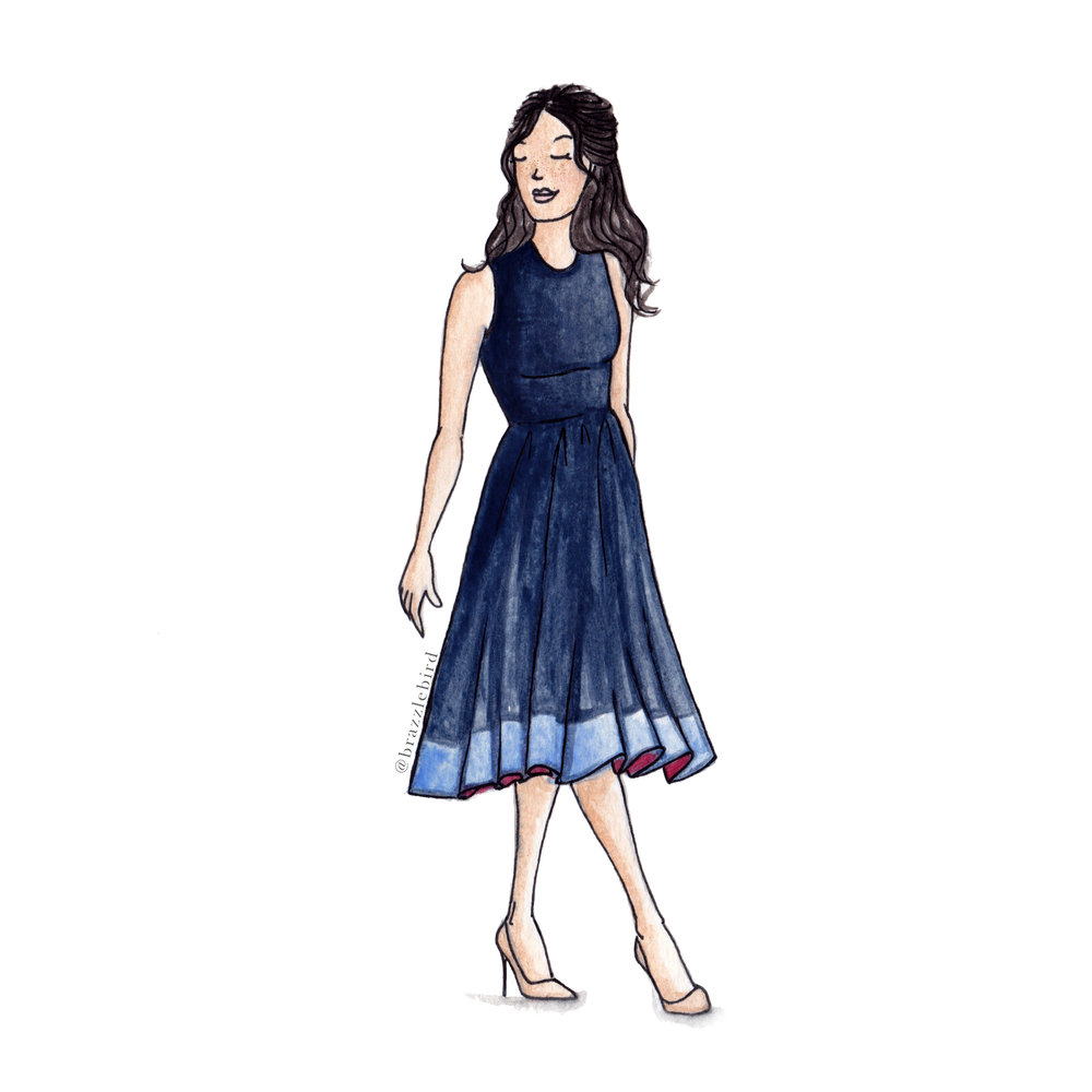 Brazzlebird - Meghan Markle Roksanda Dress Watercolor Quick Fashion Illustration.