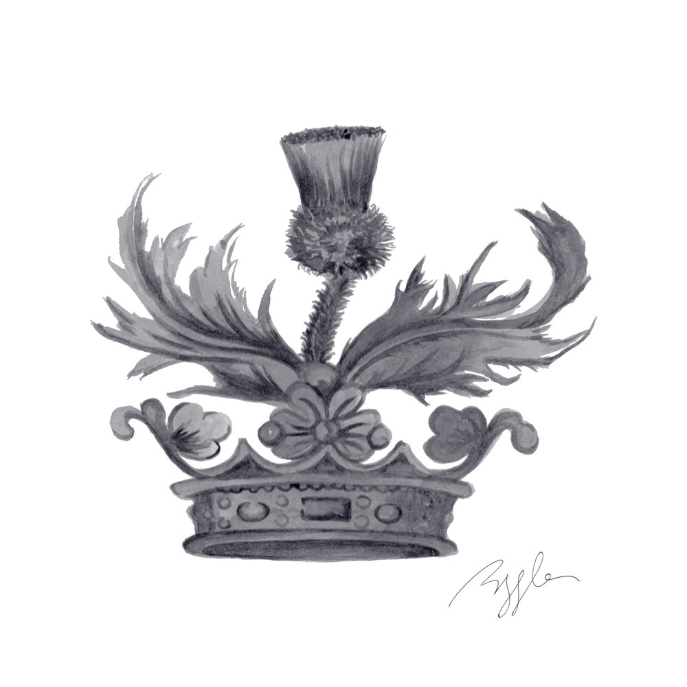 Brazzlebird - Outlander Crown & Thistle in Silver