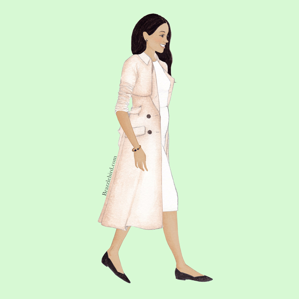Brazzlebird - HRH Duchess of Sussex Meghan Markle Australia Royal Tour Karen Gee Blessed Dress Trench Coat Rothys Flats