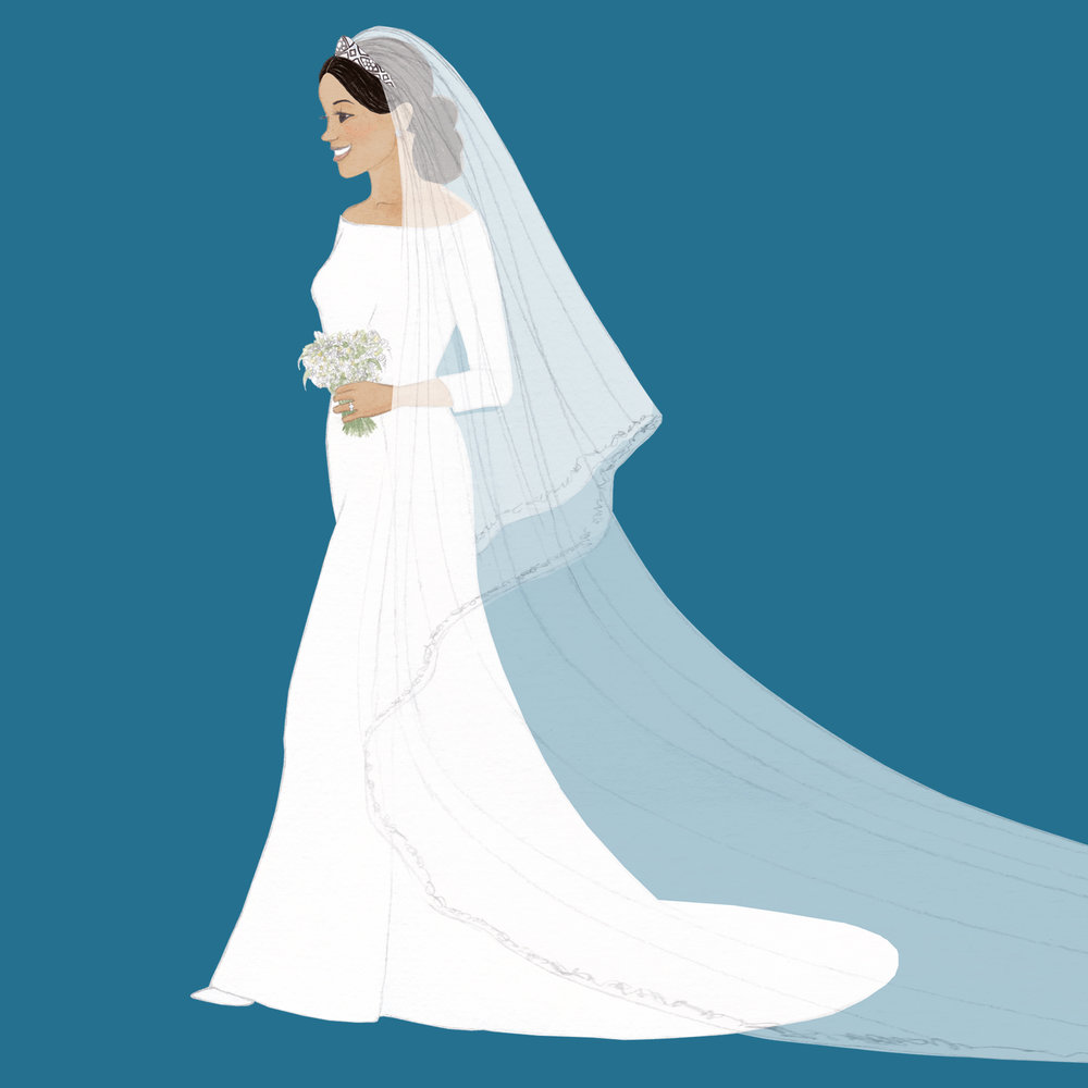 Brazzlebird - HRH Duchess of Sussex Meghan Markle Givenchy Wedding Dress Illustration Veil Bouquet Ring