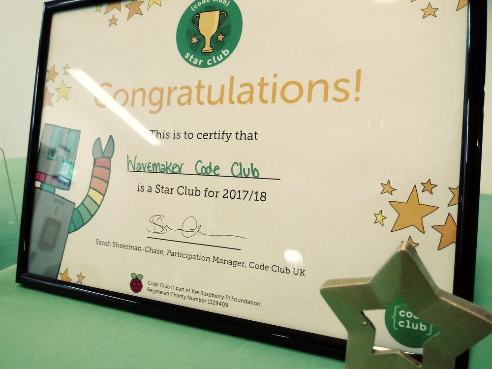 Our Star Club certificate and trophy