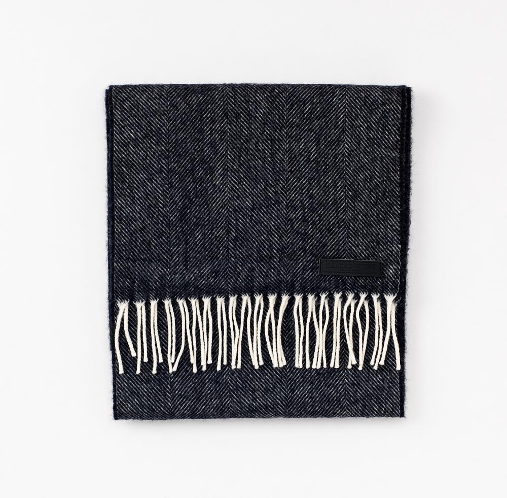 Black Herringbone   100% Merino Lambswool   XL (210cm x 30cm)