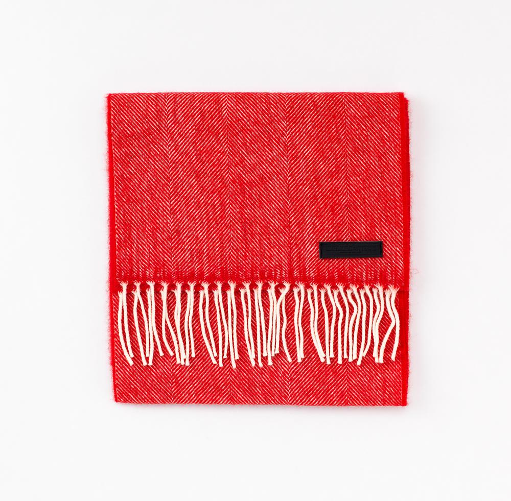 Red Herringbone   100% Merino Lambswool   XL (210cm x 30cm)
