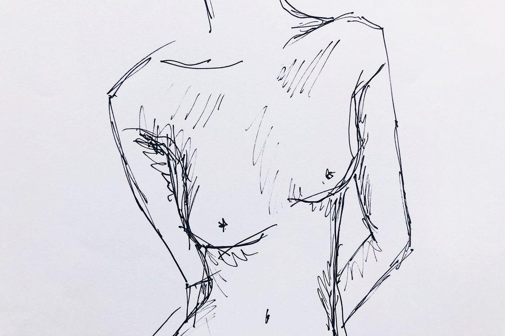 Mamma ringde och jag råkade rita den här i farten utan att märka det. En naken kropp har snabbt blivit vardagsmat.