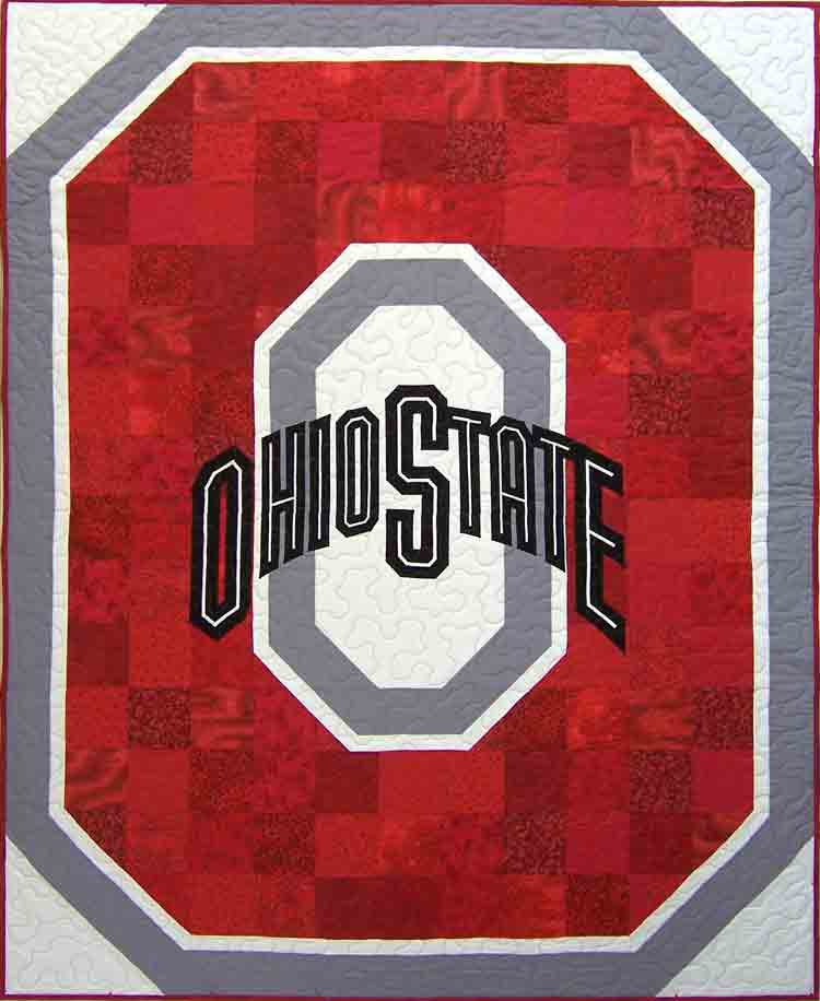 custom Ohio State quilt by Whimzie Quiltz and More
