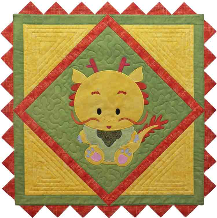 custom baby dragon quilt by Whimzie Quiltz and More